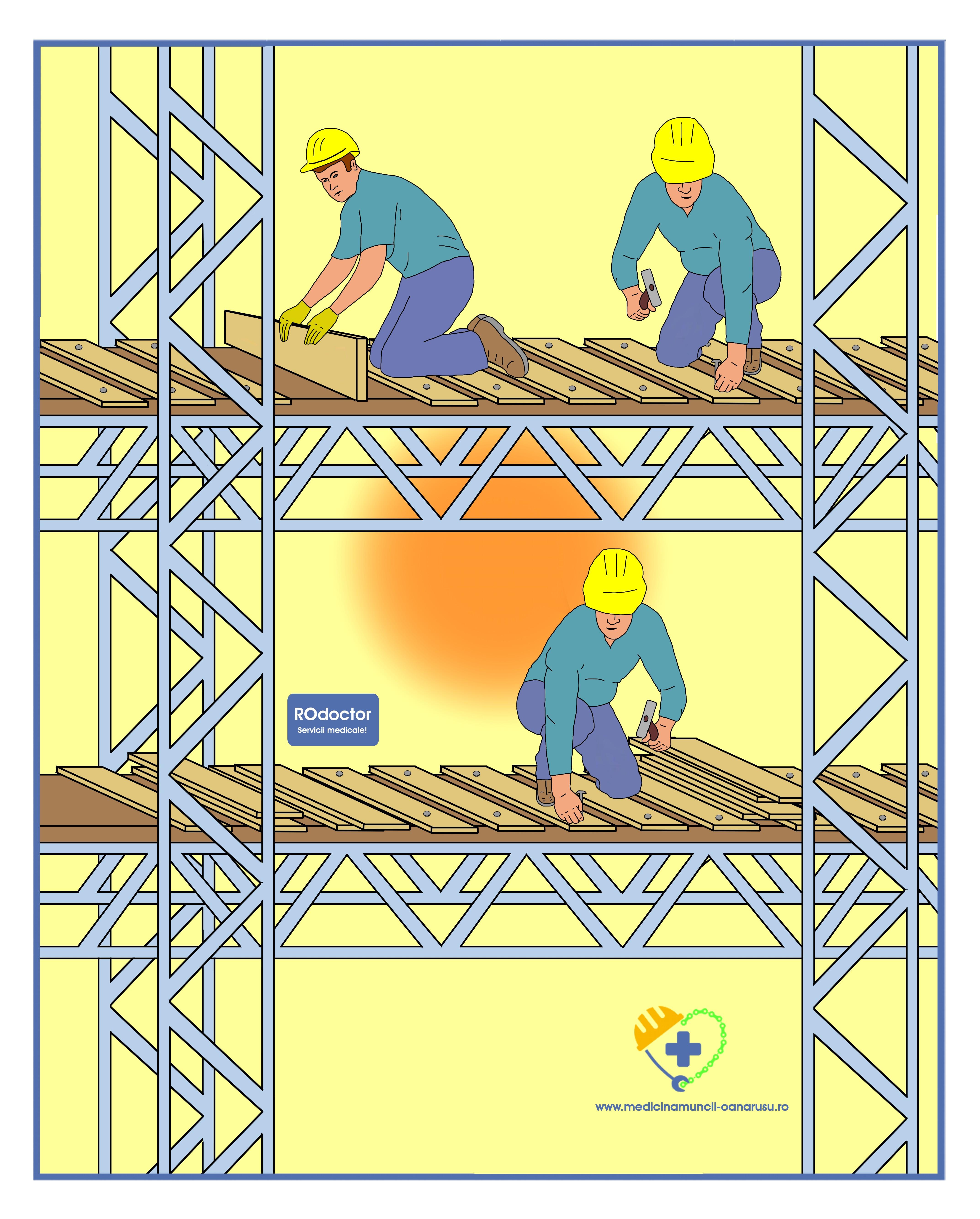 lucrează la înălțime și la vedere)